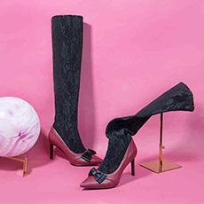 蕾丝高跟长靴