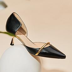 Tilda 性感时髦中跟尖头羊皮女士高跟单鞋