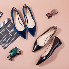 City Glamour 丝绒牛皮复古时髦平底鞋女单鞋