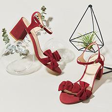 EVA 蝴蝶结中跟粗跟一字带简约露趾女士凉鞋
