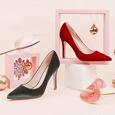 Gabrielle 红色绿色圣诞Patty款高跟鞋单鞋细跟女鞋