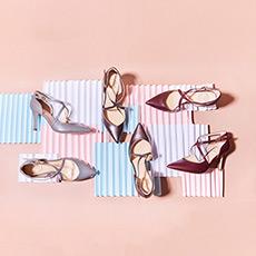 Lady X 时髦简约X形交叉镂空细跟女士高跟单鞋