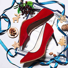 凤凰火 性感红色丝绒尖头细跟高跟鞋