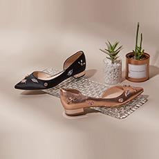 玫瑰湖 小S联名款尖头低跟女士平底鞋