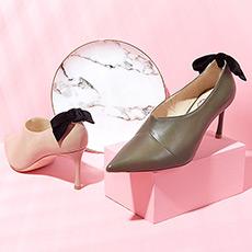 天鹅小径 羊皮踝靴蝴蝶结细跟深口女士高跟鞋