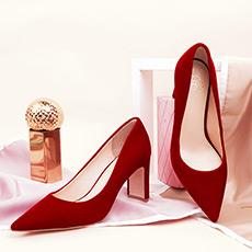 瓦尔登湖 丝绒时尚浅口尖头女士高跟鞋
