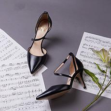 【郭碧婷同款】1号舞曲一字带细跟女士高跟鞋