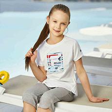 女童纯棉LOGO图案圆领运动短袖K12G822121