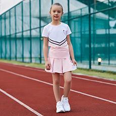 时尚条纹设计透气运动女童短袖T恤K12G823140