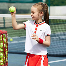 女童撞色拼接POLO翻领网球运动短袖K12G823190