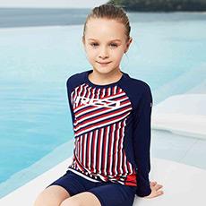 时尚安全防刮长袖防晒连体女童泳衣K12G823206