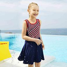 女童时尚安全防刮长袖防晒连体泳衣K12G823315