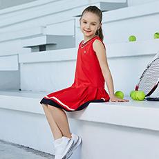 无袖纯色运动休闲女童网球连衣裙K12G823317