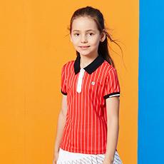 翻领条纹学院风运动女童短袖POLO衫K12G831109