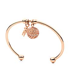 轻奢时尚玫瑰金圆形开口女士手环