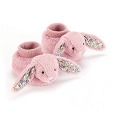 碎花深粉色害羞兔靴