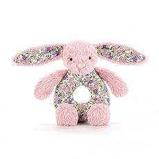 碎花深粉色害羞兔抓环