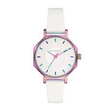 意大利设计凹陷表盘多边形腕表皮带石英幻彩女士手表