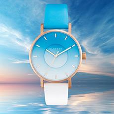 天空系列时尚潮流凹陷渐变石英腕表