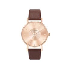 意大利设计时尚凹陷表盘皮带玫瑰金防水女士腕表