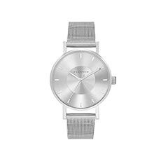 情侣款时尚休闲凹陷表盘钢带石英腕表