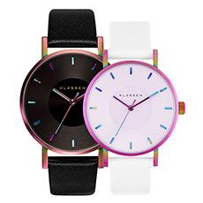 中性彩虹大表盘简约石英腕表