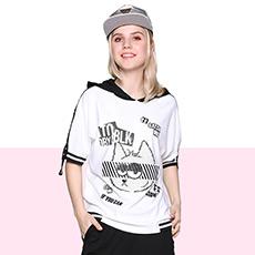 个性卡通撞色连帽短袖T恤女潮 D1T2C0271KT