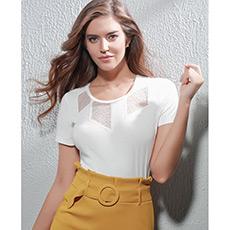 蕾丝剪影短袖上衣AM720902
