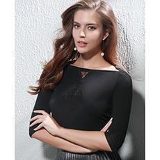 蕾丝剪影七分袖上衣AM720903