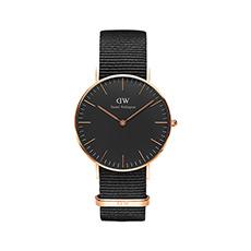 黑表盘尼龙带石英腕表