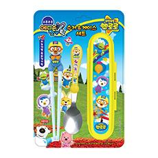 啵乐乐系列-儿童不锈钢勺筷盒三件套装