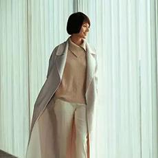 袁泉同款高领宽松加长袖女羊绒衫 E276A0121