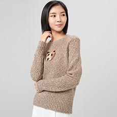 泰迪熊刺绣厚款女羊绒衫 E276A0078