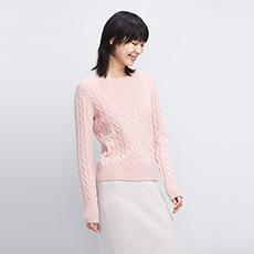 圆领无染色绒绞花女羊绒衫 E276A0108