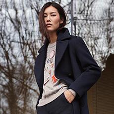 刘雯同款 绣贴装饰女羊绒衫 E276A0127