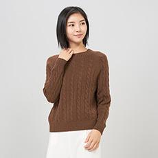 圆领绞花纯羊绒女羊绒衫 E276A0145