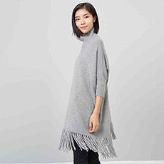 宽松半高领流苏女羊绒衫 E276A0176