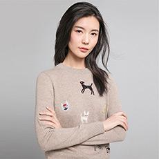 明星同款 旺星物语 小狗刺绣羊绒衫 E276A0180