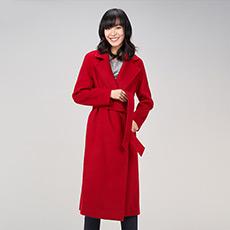 红色长款系带收腰女大衣 E276K1012