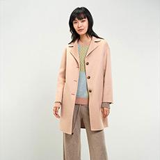 简约纯色落肩长款羊毛女大衣 E276K4036