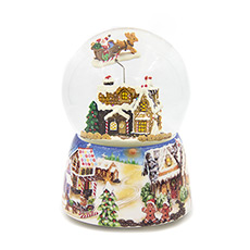 姜饼饼干屋与麋鹿圣诞老人旋转水晶球