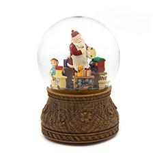 圣诞老人绘画旋转的礼物列车水晶球