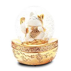 金色招财猫水晶球音乐盒