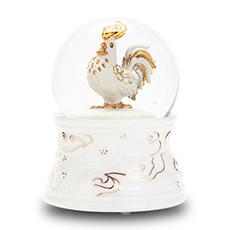 十二生肖系列 金鸡祝福水晶球音乐盒