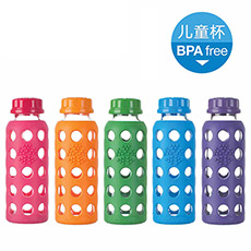 Lifefactory 美国进口250ml儿童玻璃水杯 防摔隔热便携水杯