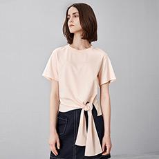 时尚气质纯色圆领女士短袖纯棉T恤5170521202611