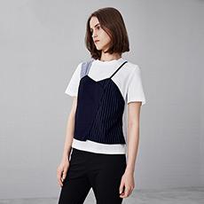 时尚气质修身假两件撞色拼接女士短袖T恤5170526222821