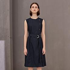 显瘦气质纯棉中长款无袖女士连衣裙5170631299472