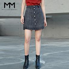 时尚单排扣短裙A字半身裙