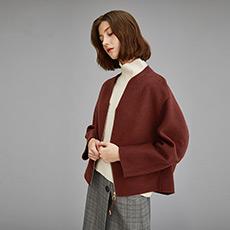 V领短款毛呢外套拉链羊毛双面呢大衣5171031377101